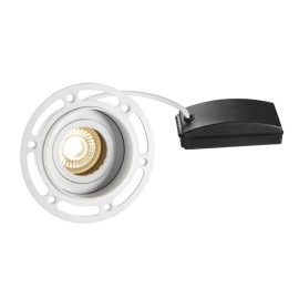 Trimless Round Adjustable Downlight in Matt White using 1 x GU10 7W LED Lamp, Plastered-in Fitting