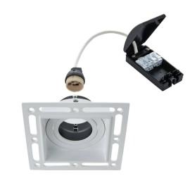Trimless Square Adjustable Downlight in Matt White using 1 x GU10 7W LED Lamp, Plastered-in Fitting
