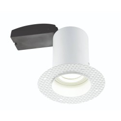 Ravel Trimless Round Fixed Downlight Fire Rated in Matt White GU10 7W LED Lamp, Plastered-in Fitting