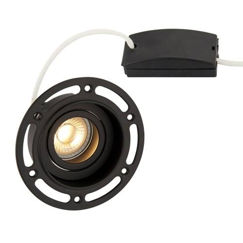 Trimless Round Adjustable Downlight in Matt Black using 1 x GU10 7W LED Lamp, Plastered-in Fitting