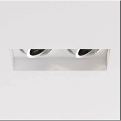 Trimless Square Twin Adjustable Downlight in Matt White 2 x 6W max. LED GU10 Lamps IP20 rated, Astro 1248022