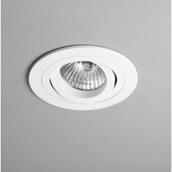 Taro Round Adjustable Fire-Rated Downlight in Matt White using 1x6W max. LED GU10 Dimmable IP20, Astro 1240028