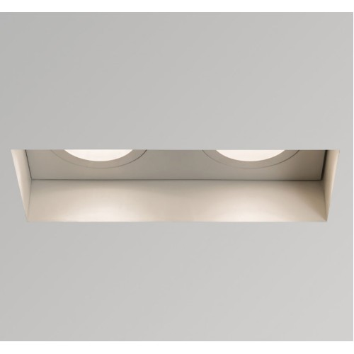 Twin Trimless Fire Rated Adjustable Recessed Downlight in Matt White 2 x LED GU10 6W Dimmable Astro 1248008