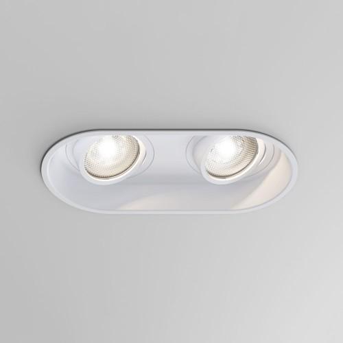Minima Twin Adjustable Downlight in Matt White for Ceiling Plasterboard Mounting 2 x 6W GU10 LED, Astro 1249028