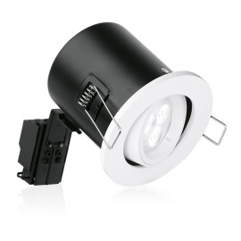 Enlite GU10 Fire Rated Adjustable Lock Ring Downlight in White 240V 50W, Acoustic Rated