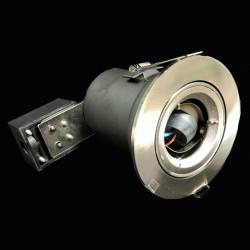 240V Fire Rated Tilting Downlight in Satin Chrome, GU10 Adjustable Recessed Light