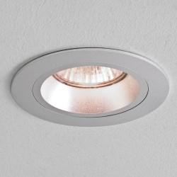 Taro Round Fire Resistant Fixed Downlight in Brushed Aluminium using 1 x GU10 50W Lamp