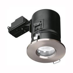 Enlite IP65 Fire Rated GU10 Fixed Shower Downlight in Satin Nickel 75mm Cutout, Enlite EN-FD103SN