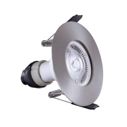 Ultra Thin Fire Rated IP65 Satin Nickel Round Fixed Downlight with GU10 Lampholder 70mm cutout Integral LED Evofire