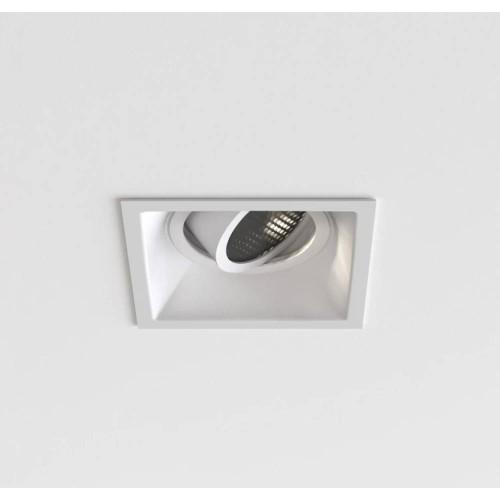 Minima Slimline Square Adjustable Fire-Rated IP20 Downlight in Matt White using 1 x 6W max LED GU10, Astro 1249042
