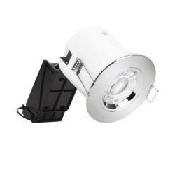 IP20 Fire Rated Fixed Round GU10 Downlight with 90mm Polished Chrome Bezel, Enlite Pro Fixed EN-DLM981X + BZ91PC