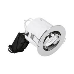 IP20 Fire Rated Round Adjustable GU10 Downlight with Polished Chrome 102mm Bezel, Enlite DLM982X + BZ92PC EFD PRO