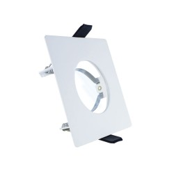 Evofire Fire Rated Ultra Thin 1mm White Square Fixed GU10 Downlight IP65 rated 70mm Cutout