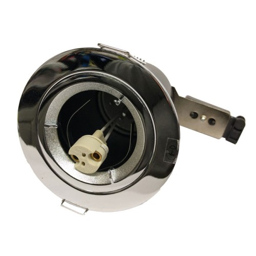 12V Fixed Fire Rated Round Downlight in Chrome, Low Voltage 50W Non-Tilting Fitting