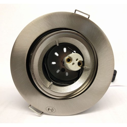 12V Tilting Fire Rated Round Downlight in Satin Chrome, Low Voltage 50W Adjustable Fitting