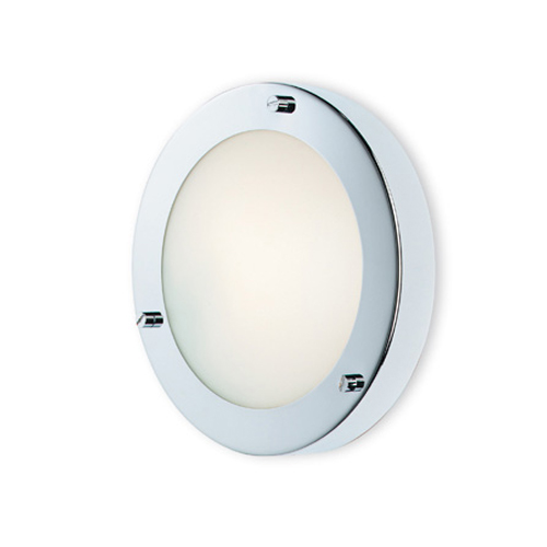 Rondo Wall / Ceiling Flush Light in Chrome with Opal Diffuser, IP54 180mmm Bathroom Light