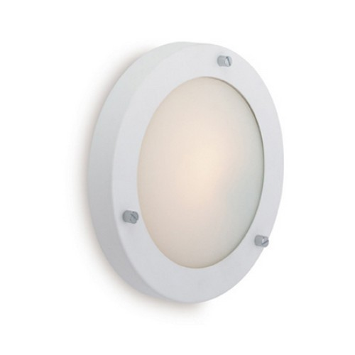 Rondo Wall / Ceiling Flush Light in White with Opal Diffuser, IP54 180mmm Bathroom Light
