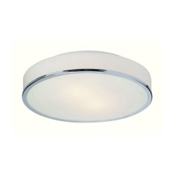 Profile Round Flush Bathroom Ceiling Light in Chrome and Opal Glass Diffuser 32cm Dia Firstlight 5756CH