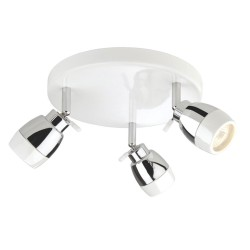 Marine White Three Ceiling Spots on Chrome Round Flush Base, Firstlight 8203WH IP44 rated