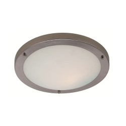 Rondo LED Flush Bathroom Light 11W IP44 Brushed Steel and Opal Glass Shade 310mm Diameter, Firstlight 8611BS