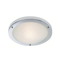 Rondo LED Flush Bathroom Light 11W IP44 in Chrome and Opal Glass Shade 310mm Diameter, Firstlight 8611CH