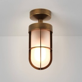 Cabin Semi Flush Ceiling Light in Antique Brass with Frosted Glass 1 x E27 12W (max) LED, Astro 1368012