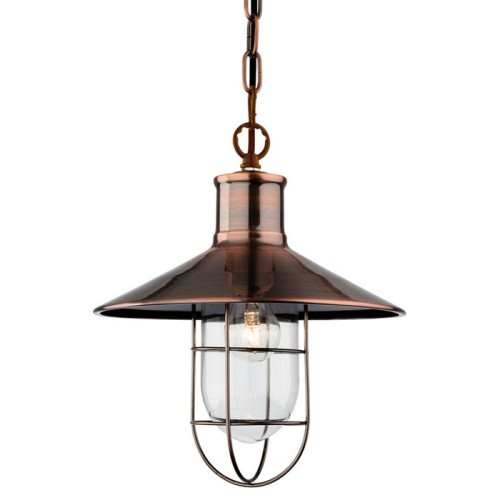 Firstlight 2306AC Crescent 1 Light Antique Copper Ceiling Pendant with Simple Cage