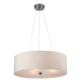 Phoenix Pendant with Cream Fabric Shade and Brushed Steel, Firstlight 2314CR Ceiling Light