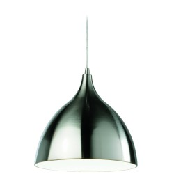 Cafe Pendant in Brushed Steel Exterior and White Interior, Cone Style Suspension Lamp 25cm dia