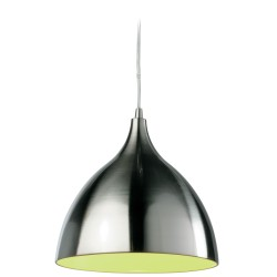 Cafe Pendant with Green Interior and Steel Exterior, Firstlight 5743BS Single Cafe Pendant