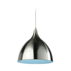 Cafe Pendant in Brushed Steel and Blue Interior Shade, Cone Style Suspension Lamp ES/E27 Firstlight 5744BS