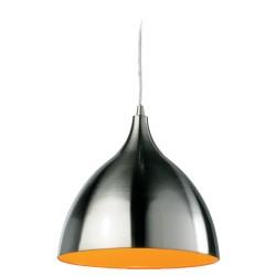 Cafe Pendant in Brushed Steel Exterior and Orange Interior, Cone Style Suspension Lamp 25cm dia