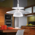 Brenda Rise-and-fall Ceiling Suspension Lamp in White, Three Tier Shade