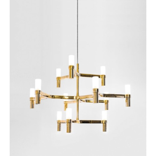 Nemo Crown Minor 12 Light Satin Gold Chandelier with Glass Diffusers Designed by Jehs and Laub