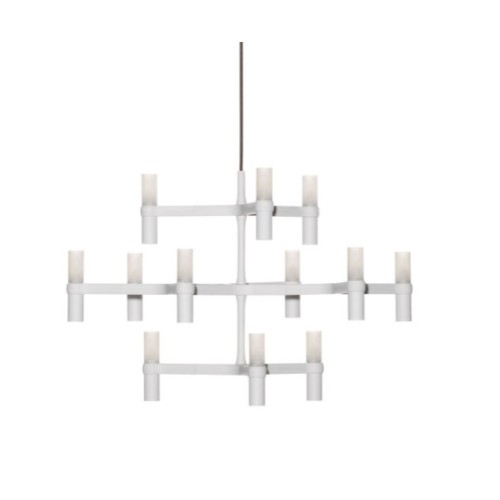 Nemo Crown Minor 12 Light White Chandelier with Glass Diffusers using 12 x G9 25W