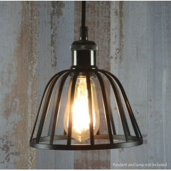 Dome Black Decorative Lamp Cage with 45mm Aperture and 185mm Diameter, Vintage Pendant Cage