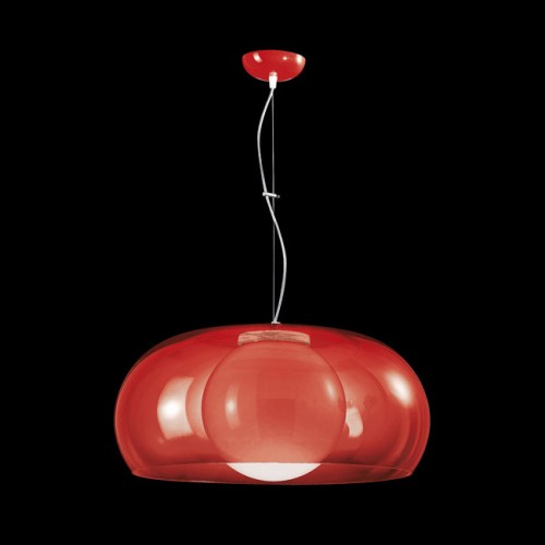 Balun Pendant Ceiling Light in Transparent Red Shade with Opal White Globe Lens