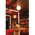 Balun Pendant Ceiling Light in Transparent Red Shade with Opal White Globe Lens E27