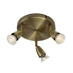 Amalfi 3 Spotlights on a Round Base Ceiling Light in Antique Brass using GU10 Lamps (not included), Adjustable Spots, Dimmable
