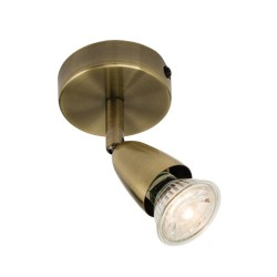 Amalfi 1 Spotlight on a Round Base Ceiling/Wall Light in Antique Brass using a GU10 Lamp (not included), Adjustable and Dimmable