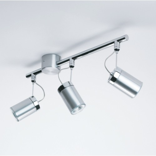 Montana Triple Spots on a Bar Brushed Aluminium for Ceiling Lighting 3 x 6W Max LED GU10 IP20, Astro 1259002