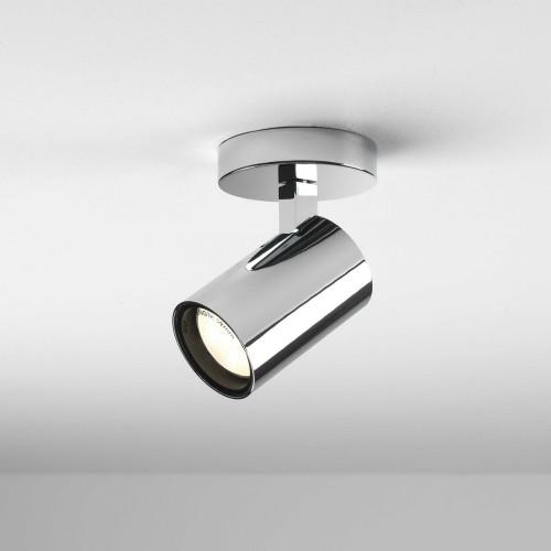 Aqua Polished Chrome Single Surface Spotlight IP44 taking 1 x GU10 6W, Dimmable Ceiling/Wall Spot Astro 1393004
