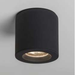 Kos Round Surface Spot IP65 in Textured Black using 1 x 6W GU10 LED Lamp Dimmable Astro 1326004