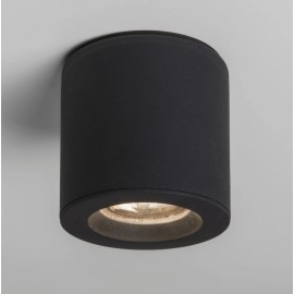 Kos II Round Surface Spot IP65 in Textured Black using 1 x 6W GU10 LED Lamp Dimmable Astro 1326040