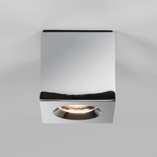 Kos Square Polished Chrome Wall/Ceiling Spotlight IP65 using 6W max. GU10 LED Lamp, Astro 1326005