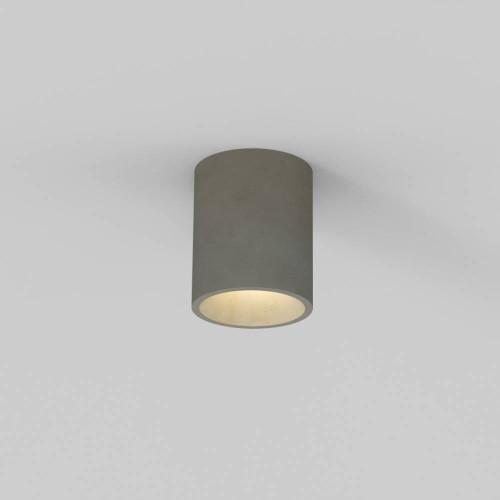 Kos Round Ceiling Light in Concrete IP44, Coastal Recessed Spotlight using 1 x 6W max. GU10 LED Lamp, Astro 1326014