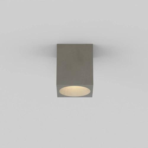 Kos Square Ceiling Light in Concrete IP44, Coastal Recessed Spotlight using 1 x 6W max. GU10 LED Lamp, Astro 1326015