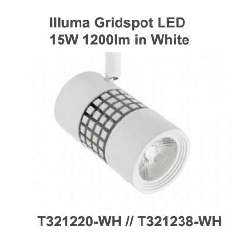 Illuma Gridspot 15W 1200lm LED Track Spotlight with 1-Circuit Track Adaptor with diferent Beams, Colour Temp, and Finishes