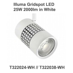 Illuma Gridspot 25W 2000lm LED Track Spotlight for 1 Circuit Track System with diferent Beams, Colour Temp, and Finishes