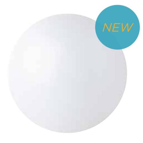 Renzo L Tri-Lumen 10W/15W/22W Dual CCT (3000K/4000K) Round Integrated Modular LED Bulkhead 390mm x 119mm for Wall/Ceiling IP44, Megaman 710274